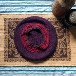 Purple knit berret beanie